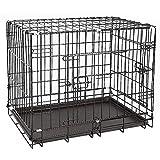 Turefans Cages à Chien,Cage de Transport pour Chiens et Petits Animaux, Cage en métal, Pliable, 2 Portes, avec Bac inférieur (61 * 46 * 48cm)