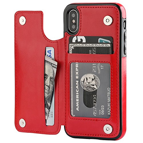 iPhone Xs iPhone X Wallet Case with Card Holder,OT ONETOP Premium PU Leather Kickstand Card Slots Case,Double Magnetic Clasp and Durable Shockproof Cover (Red)