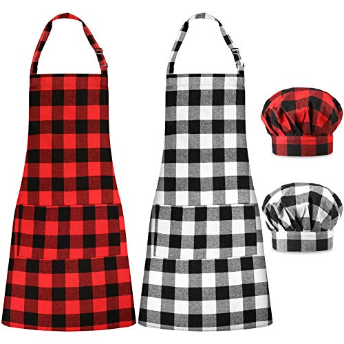 Syhood 2 Pieces Christmas Buffalo Plaid Check Apron and 2 Pieces Chef Hats Adjustable for Woman/Men, Cotton Linen Apron with Pocket and Extra-Long Ties for Cooking, Baking, Crafting, Gardening, BBQ