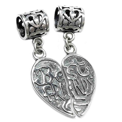 Queenberry Sterling Silver Best Friend Forever Together Apart Heart Dangle...
