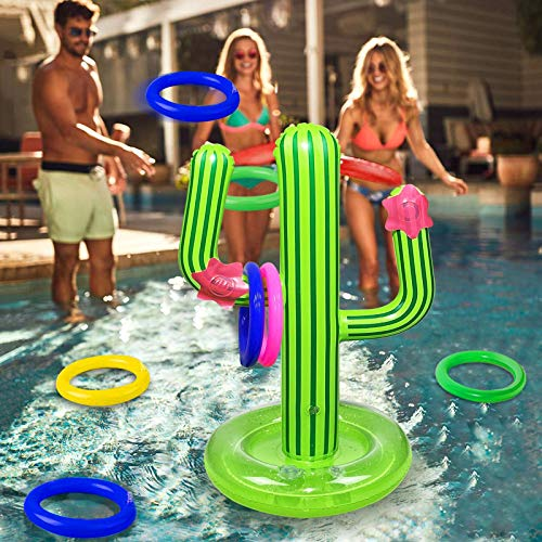 Cactus Swimming Pool Ring Toss Games Inflatable Pool Toys with Upgrade Water Base Floating Swimming Pool Game for Kids Adults Family Luau Carnival Party Summer Pool Beach Party Supplies 4 Rings
