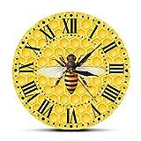 ミツバチのリビングルームの壁のアートクロックミツバチのハニカム保育園の壁の装飾マルハナバチ花粉症現代の壁の時計