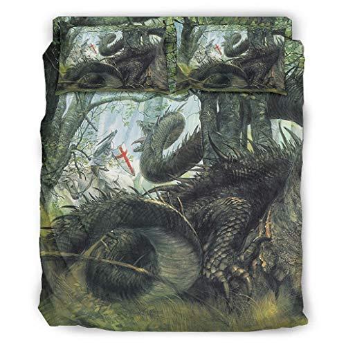Juego de ropa de cama de 4 piezas, diseño de fantasía, dragón, guerrero, bosque, ligera, funda de edredón, funda de almohada, 228 x 264 cm, color blanco