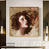KWzEQ Decoración del Dormitorio Familiar del Famoso Retrato Mural sobre Lienzo,Pintura sin Marco,75x75cm