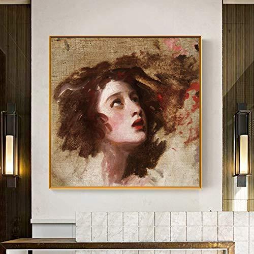 KWzEQ Familienschlafzimmerdekoration des berühmten Porträtwandgemäldes auf Leinwand,Rahmenlose Malerei,60x60cm
