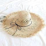 Fxhang Strohhut Breitkrempiges Gras Weibliche Sommerkappe Hohl Manuelle Strandblende Outdoor Urlaub Strand Sonnenschutzhut -
