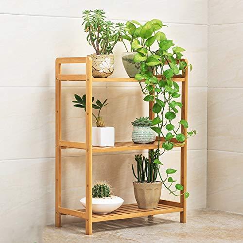 HLQW Tablette à fleurs en bambou, balcon, salle de séjour, support à pots de fleurs à plusieurs étages, support à fleurs pour plantes charnues, 3 étages, hauteur de 50 cm