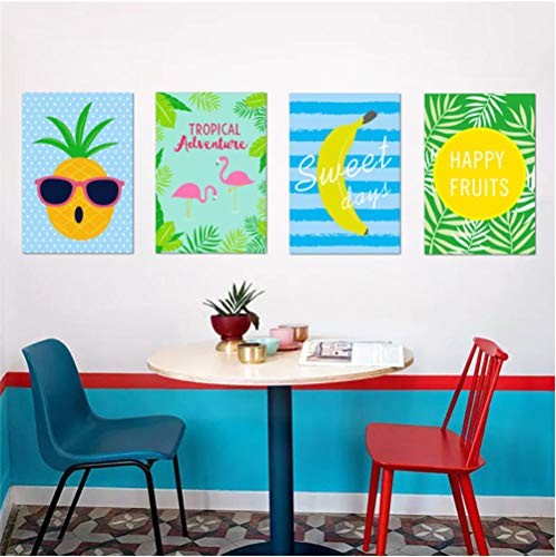 GVFTG Happy Fresh Fruits banaan citroen ananas muursticker restaurant keuken café decor poster muurschildering sticker 25X70cm