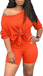 Women's 2 Piece Outfit Tracksuit Short Sleeve T-Shirts Bodycon Sports Shorts Set Jumpsuit Rompers