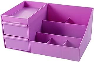 Drawer Type Cosmetics Storage Box Desktop Dressing Table Plastic Box Lipstick Rack (Size: 28 * 17.5 * 13cm) (Color : Purple, Size : 28 * 17.5 * 13cm)
