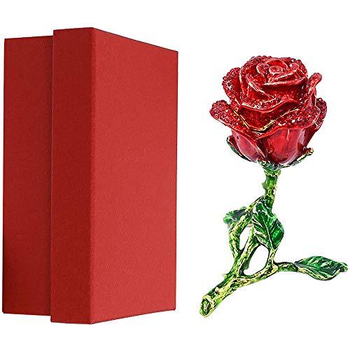 3d Alloy Magnet Rose Diamond Jewelry Storage Box-creative Rose Shape Jewelry Box-vintage Rose Jewelry Trinket Box,for/wedding/birthday/valentine's day/anniversary (Red)
