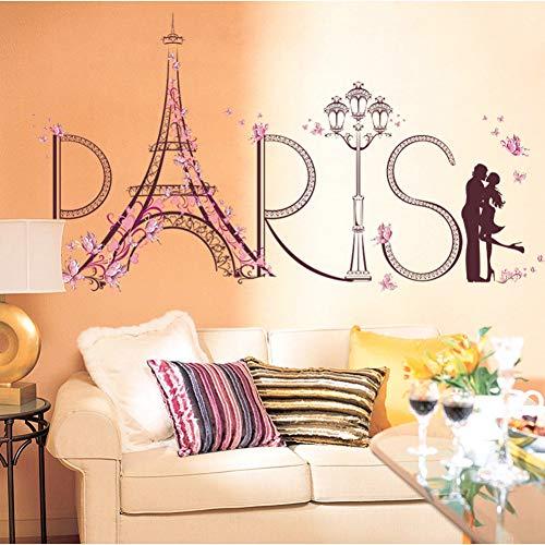 XCWQ Women'S Armband Toren Van Parijs Muurstickers Romantische Woonkamer Decoratie Wandposter Home Decor Diy Tv Achtergrond Slaapkamer Sweet Wall Stickers