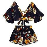 SHOBDW Dos Piezas Conjunto de Las Mujeres botánica impresión V Collar Top Shorts Beachwear (Negro, L)
