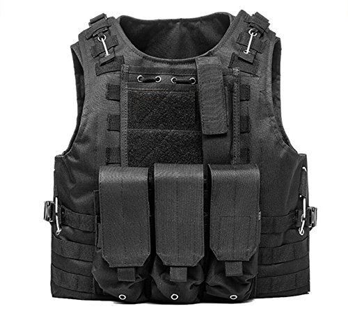 Invenko Tactical Airsoft Paintball Combat Military Swat Assault Army Shooting Hunting Outdoor Molle Police Vest (Black)