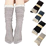 RRiody 4 Pairs Women Crochet Lace Trim Cotton Knit Footed Leg Boot Knee High Stocking