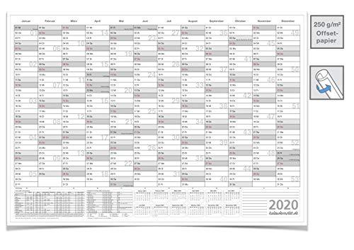WANDKALENDER/JAHRESPLANER/2020 Groß mit Ferien DIN A0 118,8 X 84,0 CM GEROLLT GRAU