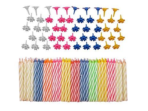 Lot de 152 bougies d'anniversaire décoratives avec supports faciles à utiliser - Motif flammes d'ange avec bougies colorées - Multicolore