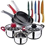 Pierre Cardin ECLAT - Batteria da cucina 5 pezzi in acciaio inox con set di padelle (18/20/24 cm) in alluminio pressato e set di 5 coltelli da cucina