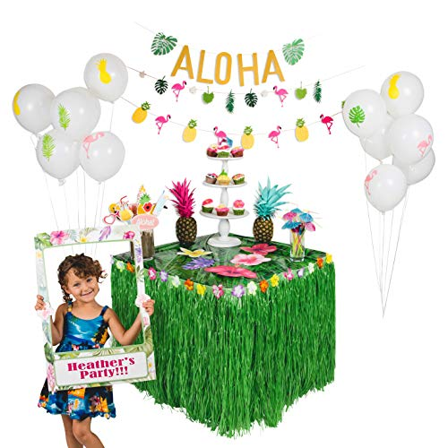 90 PCS! Luau Hawaiian Party Decorations Kit & Complete Set, Moana Party, Photo Booth Frame & Props, Grass Table Skirt, Flamingo Pineapple Balloons & Banners, Drink Umbrella Straws, Luau & Tiki Parties
