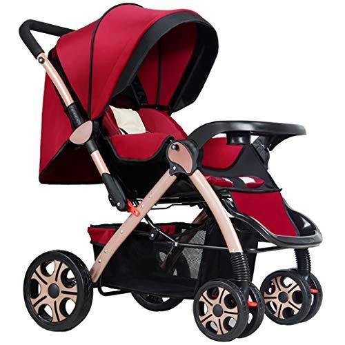WANGLXST Leichte 4-Rad-Kinderwagen, Buggy Zweiwege-Kinderwagen-Reisesysteme, Kompakte Standardkinderwagen von der Geburt bis 25 kg, red