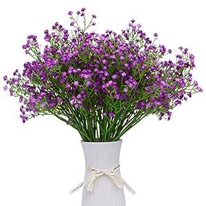 Silk Flower Arrangements LUYAR 12 PCS Baby Breath, Purple Gypsophila Artificial Flower - Real Touch Fake Flower PU Plants for Wedding Bouquets & DIY Home Decor