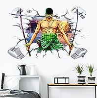 MANW 3Dアニメワンピースロールキャラクターウォールステッカーアート幼稚園家の装飾ビニール装飾デカール男の子リビングルーム装飾-L