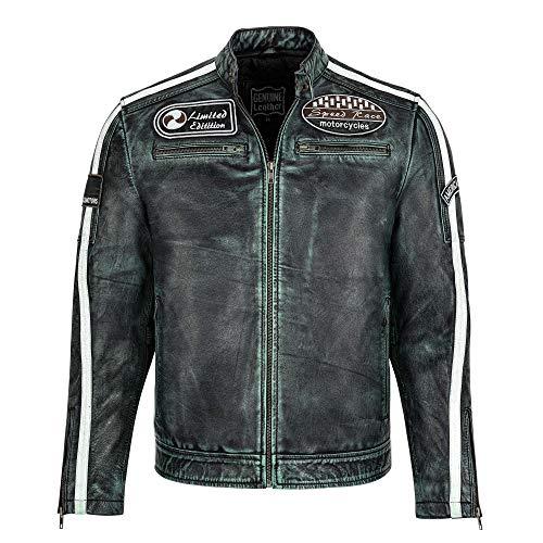 Juicy Trendz Chaqueta de Cuero de Moto para Hombre Chaqueta de Motociclista de Estilo Vintage de Corte Ajustado para Motocicleta