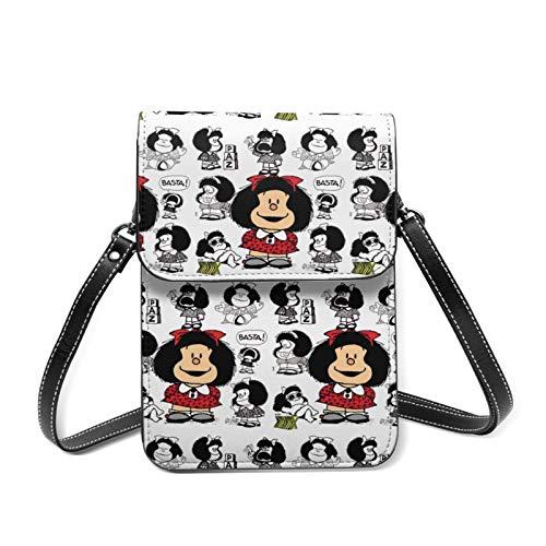 Hdadwy Bolso bandolera Mafalda para mujer, pequeño monedero para teléfono móvil con correa de hombro extraíble, cartera de anime