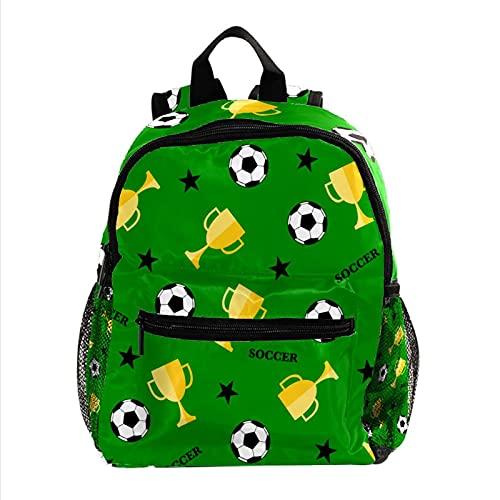 Grüner Fußball und Pokal, Jungen Rucksäcke für die Schule Süße Rucksäcke für Kinder Teen Kleinkind Fashion Daypack Rucksack Reise Laptoptasche