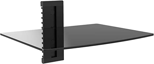WALI Floating Wall Mounted Shelf with Strengthened Tempered Glasses for DVD Players,Cable Boxes, Games Consoles, TV Accessories, 1, Black