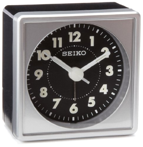 Seiko 2' Square, Compact & Lightweight Bedside Alarm Clock