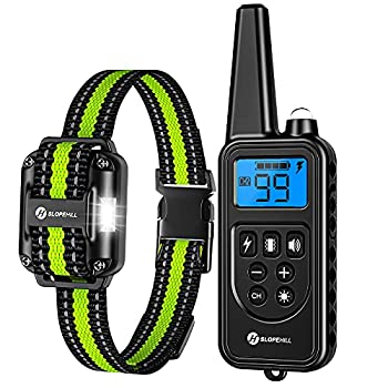 Slopehill Dog Training Collar Waterproof Dog Shock Collar with Remote Rechargeable Dog Collar with Vibration Beep Shock Light Modes Adjustable 0 to 99 Shock Levels