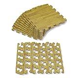 Alfombra puzle de Goma EVA para niños. Medida Total: 93 x 93 x 1 cm. con Bordes Lisos. Madera Color Haya / Pino.