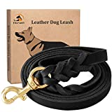 """FAIRWIN Leather Dog Leash 6 Foot - Braided Best Military Grade Heavy Duty Dog Leash for Large Medium Small Dogs Training and Walking (Black, M:5/8"""" x5.6ft)"""