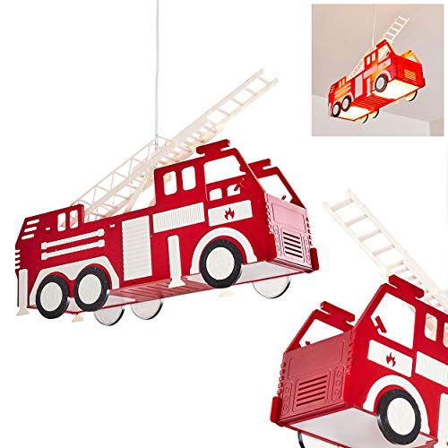 Pendelleuchte Praya, rotes Feuerwehrauto als Hängelampe aus Kunststoff für das Kinderzimmer, 2 x E27 max. 13 Watt, Feuerwehr Hängeleuchte, auch geeignet für LED Leuchtmittel
