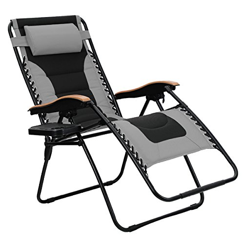 PHI VILLA Oversize XL Padded Zero Gravity Lounge Chair Wider Armrest Adjustable Recliner with...