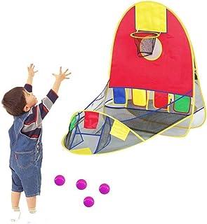 AM ANNA Portable Ball Shooting Tent, Kid Foldable Pop Up Playing Tent Goal Basketball Hoop Shooting Tent 4 Balls