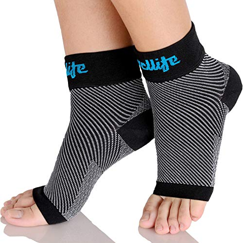 Dowellife Plantar Fasciitis Socks, Ankle Brace Compression Support Sleeves & Arch Support, Foot Compression Sleeves, Ease Swelling, Achilles Tendonitis, Heel Spurs for Men & Women (Black M)