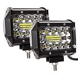 Zmoon Led Light Bar, 2Pcs 120W 12000lm [ Aluminum Alloy Die-casting Shell ] Led Spotlight Off Road Lights Super Bright Flood Driving Light for SUV Jeep Boat