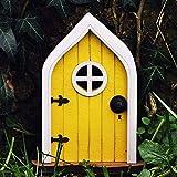 Fairy Gnome Home Door, Miniature Fairy Garden Door with Windows for Trees Decoration, Yard Art Garden Sculpture Decoration, Lawn Decor, Ornaments Accessories (Yellow)