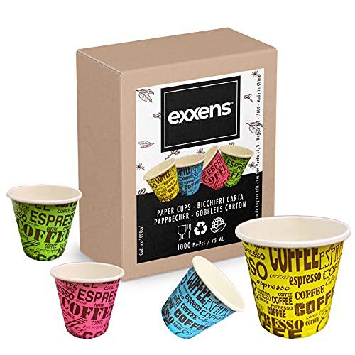 Exxens 1000Pz Bicchierini Tazzine Caffè 75ml Biodegradabili di Carta Ecologici Bio Compostabili Usa E Getta (multicolor)