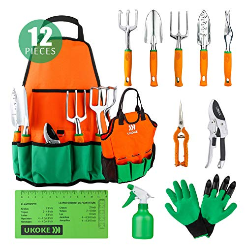 UKOKE UGP02G Aluminum Hand Gardrn Tool Kit, Orange, 12 Piece