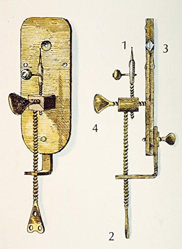 Anton Van Leeuwenhoek N(1632-1723) Dutch Naturalist One of LeeuwenhoekS Mikroskope (1) Das zu untersuchte Probe wurde auf dem Gerät platziert (2) brachte vertikal durch Drehen der Lowe in Position