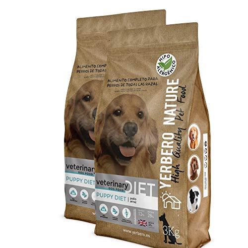 YERBERO Nature Puppy Diet Pollo y arroz, 2 uds de 3 kg de alimento hipoalergénico para Cachorros.