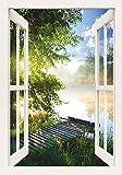 Artland Qualitätsbilder I Wandtattoo Wandsticker Wandaufkleber 70 x 100 cm Landschaften Gewässer Foto Grün C8UR Angelsteg am Fluss am Morgen Fensterblick