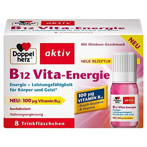 Doppelherz B12 Vita-Energie Trinkfläschchen – Energie und Leistungsfähigkeit für Körper und Geist – Vitamin B12 zur Verringerung von Müdigkeit und Erschöpfung – 8 x 10 ml Fläschchen, 100 Mikrogramm