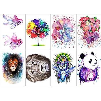 8 Sheets Colorful Fish Panda Owl Temporary Tattoo Sticker Waterproof Long Last Fake Tattoo for Kids Women