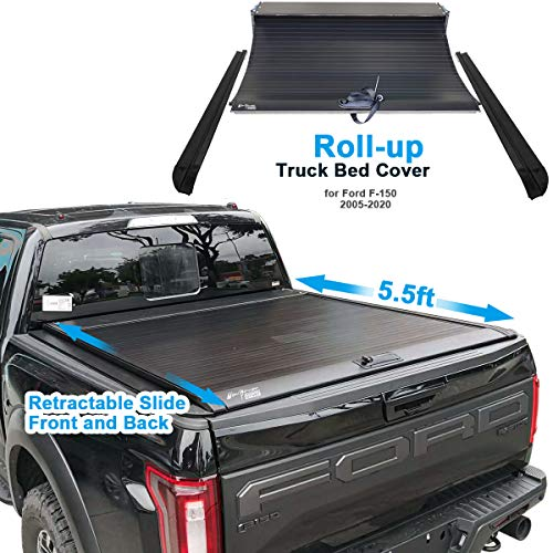 ISTUNT Aluminum Retractable Roll-up Hard Tonneau Cover for 2005-2020 F-150 F150 5.5' 5'6' Waterproof...