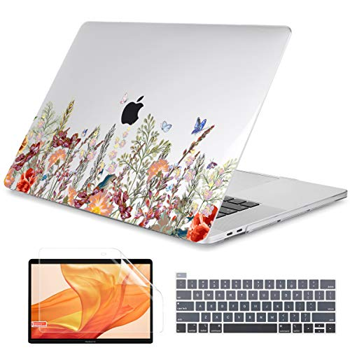 Dongke MacBook Pro 13 inch Case Model A2251/A2289 2020 Released, Plastic Hard Shell Case Cover for MacBook Pro 13 inch with Retina Display & Touch Bar Fits Touch ID (Floral Illustration)