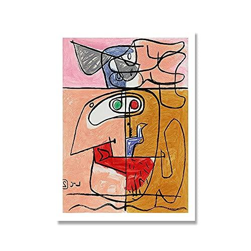 Cartel de la exposición de Francia Le Corbusier cuadro abstracto retro moderno sin marco decoración del hogar lienzo pintura A1 50x75cm